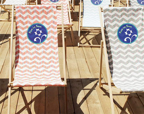 Image of printed on deck chairs