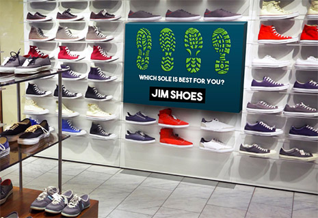 Image of a shoe store printed retail display