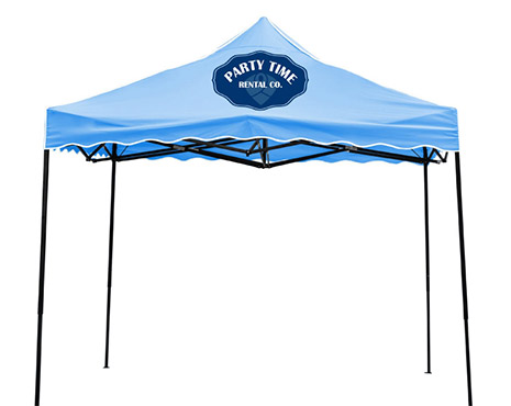 Image of a printed on pop-up tent